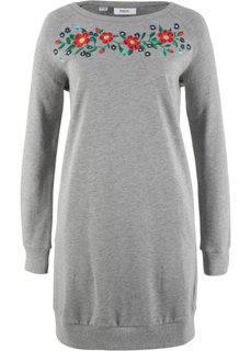 Трикотажное платье с вышивкой (светло-серый меланж) Bonprix