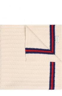 Шерстяное одеяло фактурной вязки с контрастной отделкой Gucci