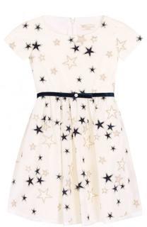 Платье-миди с вышивкой в виде звезд и бархатным поясом Monnalisa