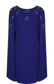 Приталенное платье-миди с кейпом St. John