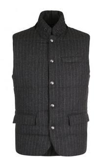 Утепленный шерстяной жилет на кнопках с замшевой отделкой Polo Ralph Lauren
