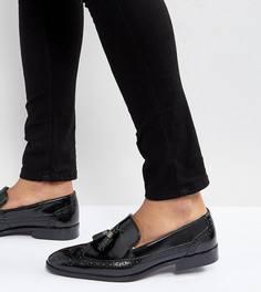 Черные кожаные лоферы-броги для широкой стопы с кисточками ASOS - Черный