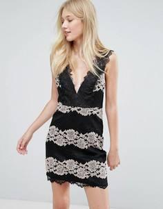 Платье с кружевной вставкой Liquorish - Черный