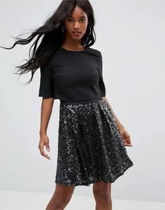 Бархатное приталенное платье Little Mistress - Черный