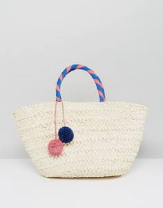 Пляжная соломенная сумка с помпоном South Beach - Бежевый