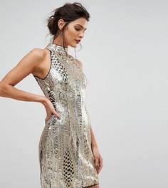 Платье мини с высоким воротом и золотистыми пайетками TFNC - Золотой