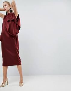 Атласное платье с множеством рукавов ASOS WHITE - Красный