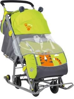Санки-коляска с колесами Nika «Детям 7» желтые