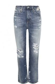 Укороченные джинсы с потертостями и вышивкой Ag
