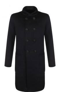 Двубортное кашемировое пальто с воротником-стойкой Giorgio Armani