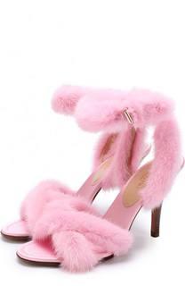 Босоножки с отделкой из меха норки на устойчивом каблуке Valentino