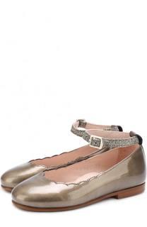 Кожаные туфли на ремешке с глиттером Beberlis