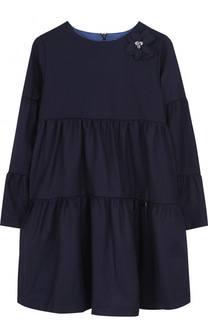 Шерстяное платье свободного кроя с брошью Lanvin