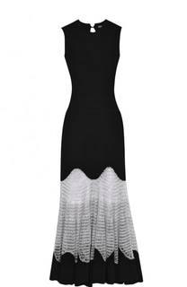 Приталенное шерстяное платье с кружевной вставкой Alexander McQueen