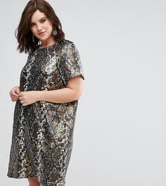 Платье с пайетками Elvi - Золотой