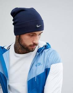 Темно-синяя шапка-бини с металлическим логотипом Nike 803734-451 - Темно-синий