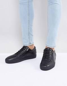Черные кожаные кроссовки на молнии и шнуровке HUGO by Hugo Boss - Черный