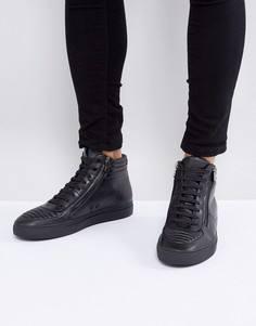 Черные кожаные высокие кроссовки на молнии и шнуровке HUGO by Hugo Boss - Черный