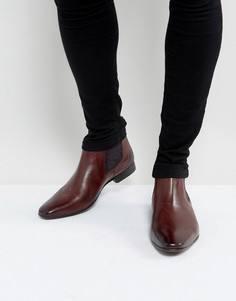Бордовые кожаные ботинки челси с принтом пейсли Silver Street - Красный