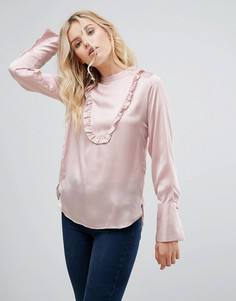 Атласная блузка с оборкой Pepe Jeans - Розовый