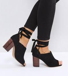 Туфли на каблуке для широкой стопы с завязками ASOS OMEN - Черный