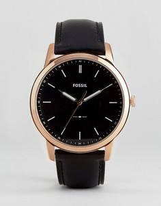 Часы с черным кожаным ремешком Fossil FS5376 Minimalist - Черный