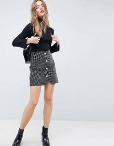 Мини-юбка в горошек с пуговицами из искусственного жемчуга ASOS - Черный
