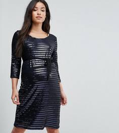Облегающее платье с пайетками Mamalicious - Темно-синий Mama.Licious