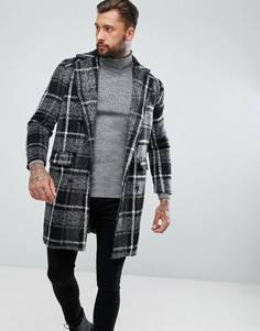 Серое удлиненное пальто в клетку boohooMAN - Серый