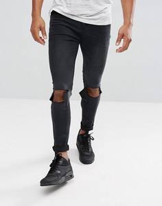 Черные рваные джинсы скинни boohooMAN - Черный