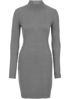 Вязаное платье с ажурным узором (серый меланж) Bonprix