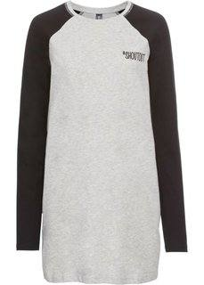 Трикотажное платье (светло-серый меланж/черный) Bonprix