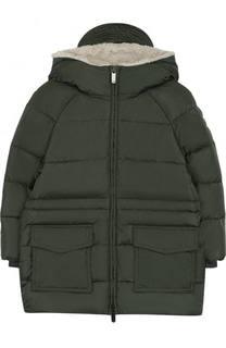 Пуховая куртка с капюшоном и накладными карманами Il Gufo