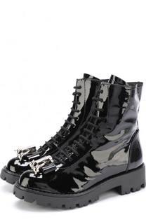 Лаковые ботинки с бантом и декором Dsquared2