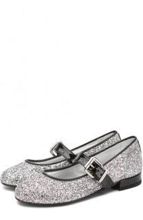 Туфли с глиттером и лаковым ремешком Simonetta