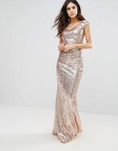 Платье макси с пайетками City Goddess - Золотой