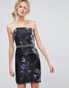 Облегающее платье из органзы Little Mistress - Черный