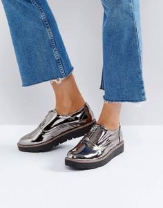 Туфли на платформе с молниями London Rebel - Серый