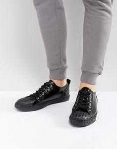 Черные лакированные кеды на шнуровке со вставкой на носке ASOS - Черный