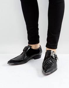 Черные туфли с пряжками и рисунком черепов Jeffery West Adam - Черный
