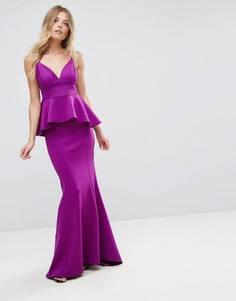 Платье макси с баской и юбкой-годе City Goddess - Фиолетовый