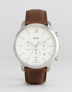 Часы с коричневым кожаным ремешком и хронографом Fossil FS5380 Neutra - Коричневый