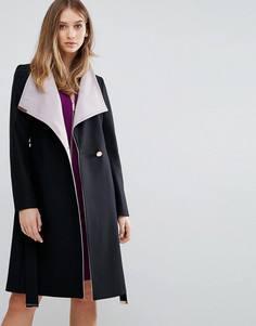 Длинное пальто с запахом Ted Baker - Черный
