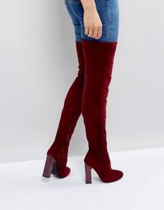 Ботфорты на блочном каблуке Boohoo - Красный