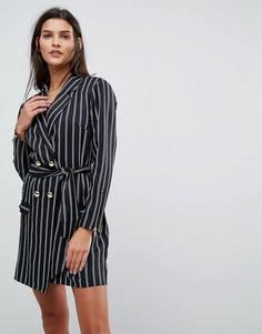 Платье мини в стиле 80-х в полоску ASOS - Мульти