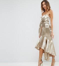 Платье миди с запахом, открытыми плечами и асимметричным краем Jarlo Tall - Золотой