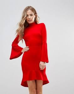 Платье миди с рукавами клеш и оборкой Oh My Love - Красный