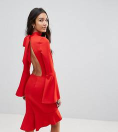 Платье миди с баской и рукавами клеш Oh My Love Tall - Красный