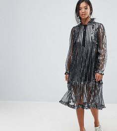 Платье миди в полоску с эффектом металлик Sister Jane Petite - Серебряный