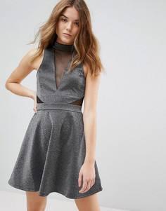 Короткое приталенное платье металлик с сетчатыми вставками New Look - Серебряный